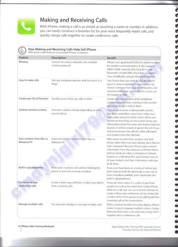 iphone details from at t s sales training workbook mac rumors rh macrumors com Sales Training Manual Covers New Training Manual